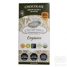 Chocolate Orgánico 55% Libre de Gluten y Sin Lactosa 100grs|Cacao Soul