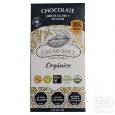Chocolate Orgánico 70% Libre de Gluten y Sin Leche 100grs|Cacao Soul