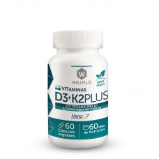 Vitamina D3+K2 Plus 100% Vegano 60cap | Wellplus
