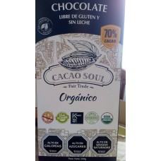 Chocolate Orgánico 70% Libre de Gluten y Sin Lactosa