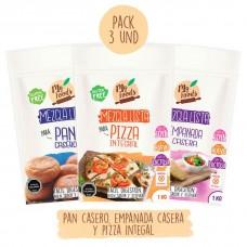 Pack Mezclas Lista 1Kg Pan Casero 1Kg Empanada Casera y 1Kg Pizza Integral de MyFoods