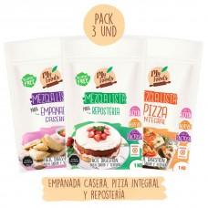 Pack Mezclas Lista 1Kg Empanada Casera, 1Kg Pizza Integral y 1Kg Repostería de MyFoods